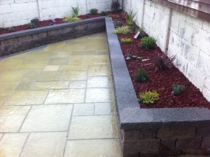 A unique design for a garden with a sharp corner.